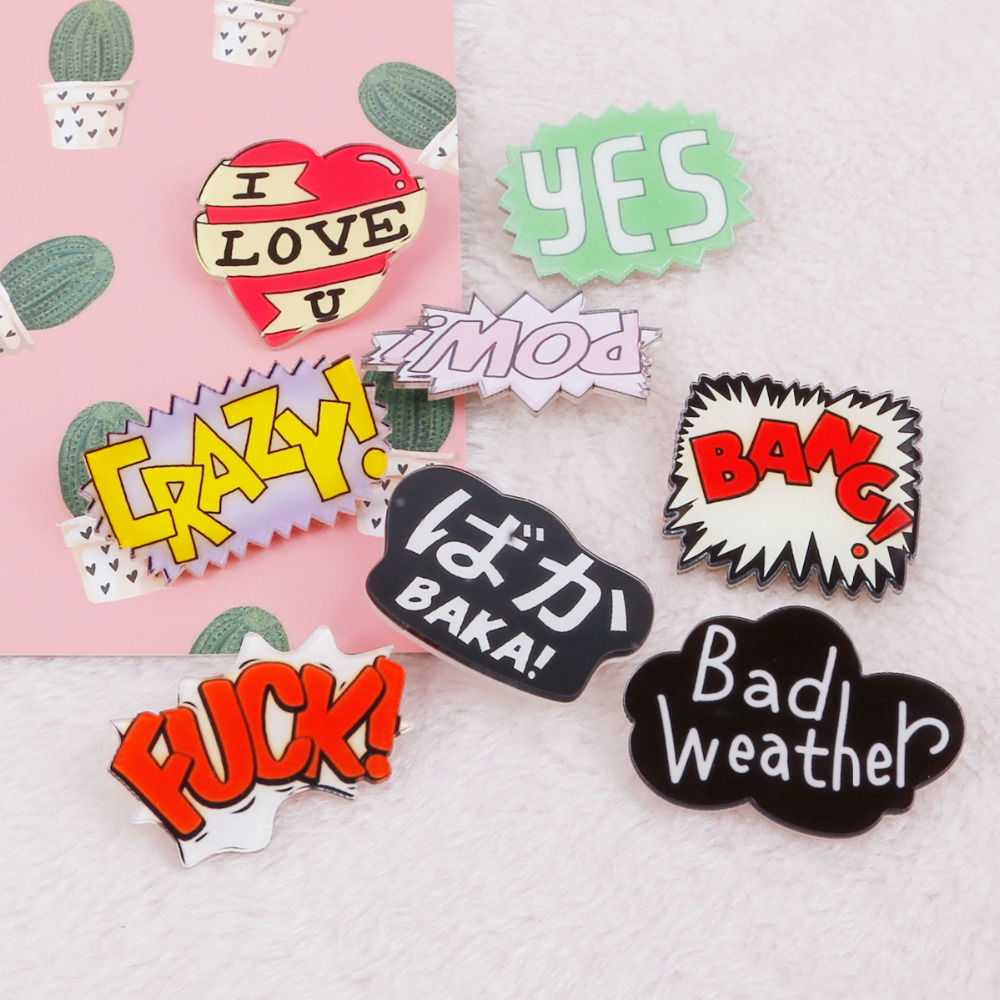 Responsible 1pc/lot Cute Cartoon Acrylic Badge English Words Kawaii Badge Pin On Decoration For Man/woman Hat Personality Brooch With The Best Service Arts,crafts & Sewing