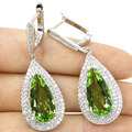 Long Drop Green Tsavorite Garnet, White CZ Created SheCrown Woman's Wedding   Silver Earrings 45x17mm