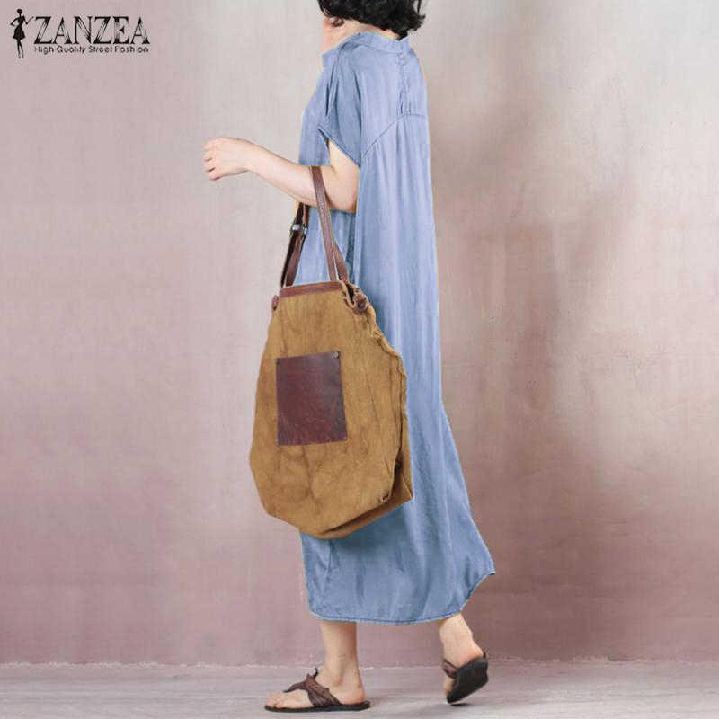 ZANZEA Винтаж для женщин летнее платье женские элегантные плиссированные Vestido роковой богемные Длинные платья плюс размеры пляжное 5XL