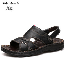 Whoholl Men Sandals Genuine Split Leather Beach Shoes Brand Casual Slippers Sneakers Summer Flip Flops
