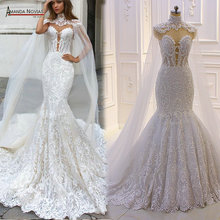 2020 New Design Mermaid Wedding Jurk Met Cape