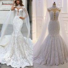 2020 novo design sereia vestido de casamento com capa