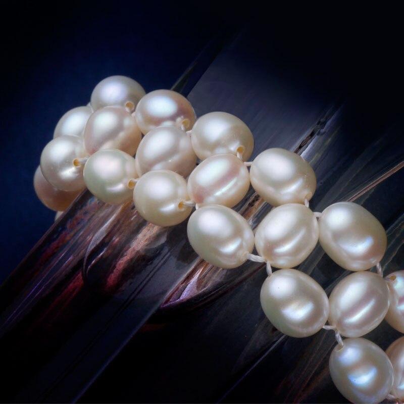 ASHIQI collier de perles d'eau douce naturelles avec véritable 925 fermoir en argent Sterling perle bijoux pour les femmes mariée mariage - 4