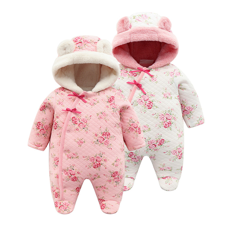 Winter Newborn Baby Girl Footies Thicken Warm Coral Fleece Jumpsuit Hooded Clothes Floral Christmas Girls Body suits Onesie цена 2017