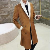 2017 Long Overcoat Men Suede Double Breasted Trench Coat Men Fur Collar Slim Fit Brown Green Black 4xl Male Trench Coat Winter