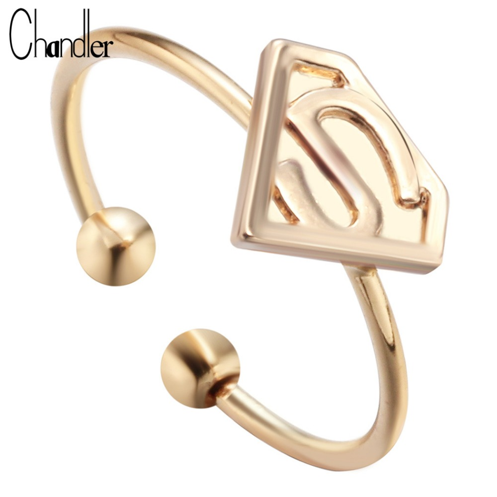 Gold toe rings for women - Chandler Silver Gold Plating Super Man Charm Ring With S Letter Triangle Free Size Simple Jewelry