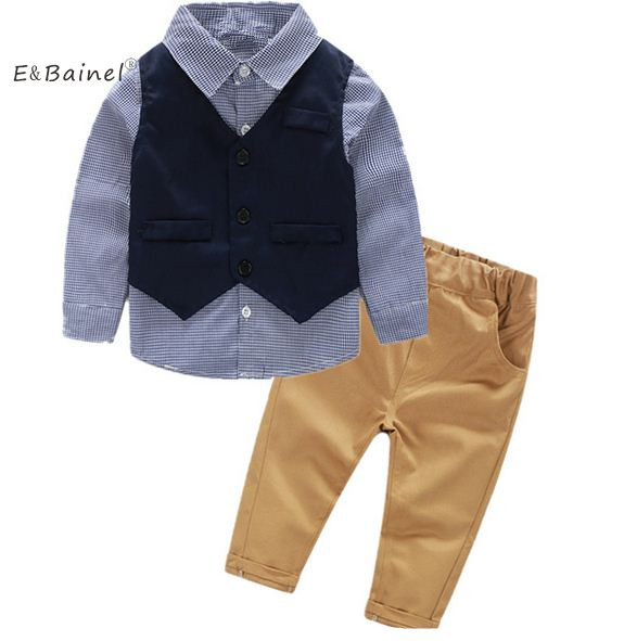 E&Bainel Spring Autumn Baby Boys Clothing Sets Gentleman Suit Plaid Shirt + Pant+Vest Infant Clothing Kids Newborn Clothes kids shirt vest pant set 3pcs spring new children s clothing boys long sleeve gentleman suit baby striped trousers clothes