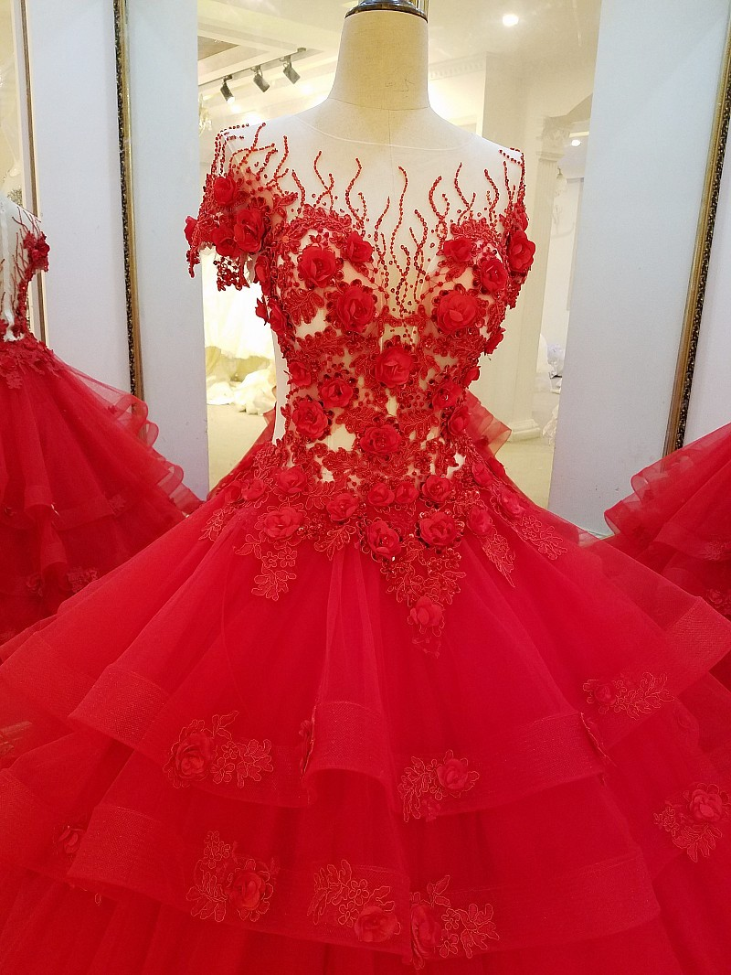 LS32710 Long Red Evening Dresses for Engagement Ball Gown 3D Flowers  Evening Party Dress Vestido De Noche Real Photos-in Evening Dresses from  Weddings ... 5d2dc7448b9f