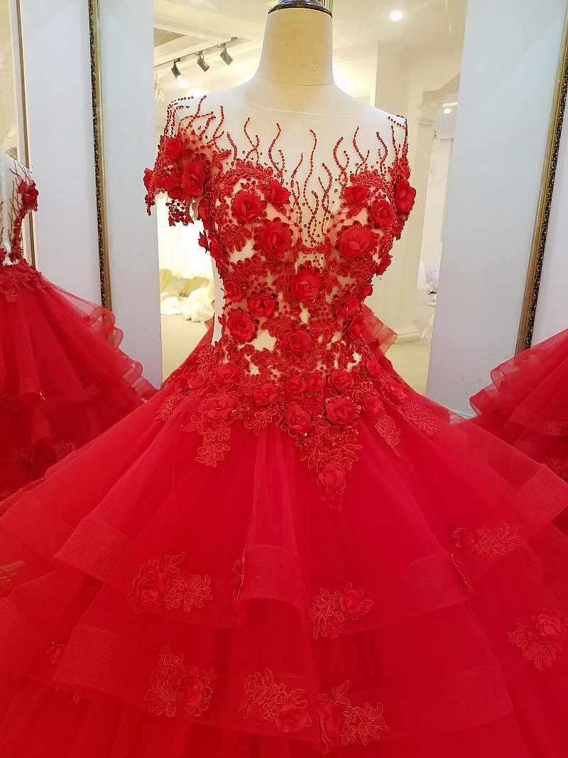 4362291da7c4 LS32710 vestidos de noche rojos largos para el vestido de bola de  compromiso flores 3D vestido de fiesta de noche fotos reales
