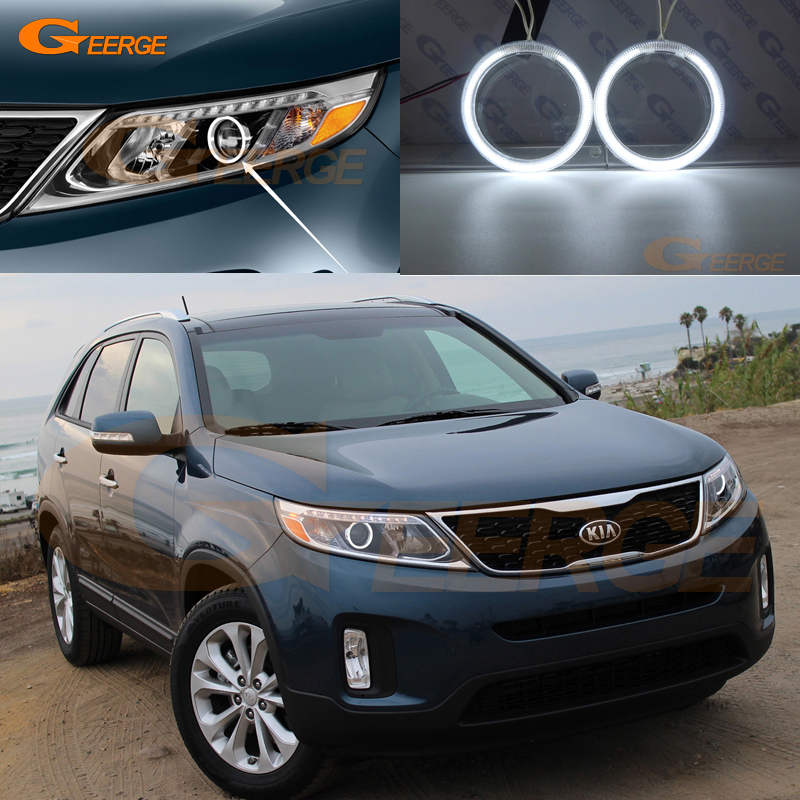 цена на For Kia Sorento 2014 2015 Halogen HeadLight Excellent angel eyes kit Ultra bright headlight illumination CCFL Angel Eyes kit