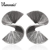 Viennois New Vintage Silver Color Twisted Stud Earrings For Women Punk Style Irregular Earrings Metallic Party