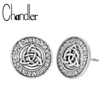 Chandler 1pcs Viking Slavic Talisman Triangle Celti Knot Stud Earring Nordic Vikings Amulet Ethnic Ancient Retro Lucky Gifts
