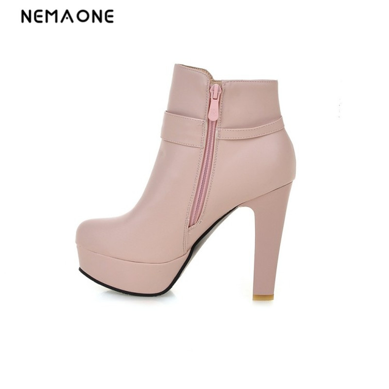 NEMAONE Autumn winter new arrival hot sale women boots thick high heels round toe platform restoring fashion ankle boots fringe wedges thick heels bow knot casual shoes new arrival round toe fashion high heels boots 20170119