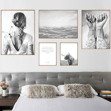 Nordic Poster Black And White Love Warrior Posters Prints Wall Art Canvas Painting Sky Bird Hand Abstract Frameless