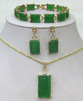 new fashion free shipping charming Green chalcedony jades stone strand chain Bracelet /earrings /Necklace Pendant Set AAA BV97