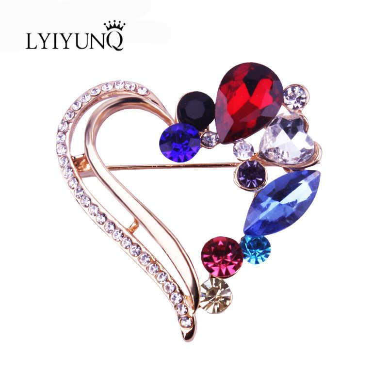 LYIYUNQ Classico Colore Oro Spilla Pin Cuore Dell'annata di Cristallo Spille Pins Per Le Donne Abbigliamento Accessori Monili di Costume di Modo