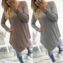 NEW Fashion Women Fashion Casual Long Sleeve T-Shirts Tops Ladies Loose Long T-Shirt