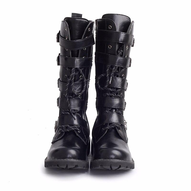 Métal Mi Noir Mâle Hh 130 Veau Punk Rock Armée Hommes Up Chaussures Lace De Militaires Boucle En Haute Bottes Moto Combat q7wvR8q