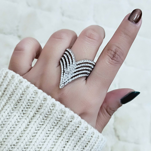 SINLEERY Trendy Micro Paved Cubic Zirconia Hollow Finger Rings White Gold Color
