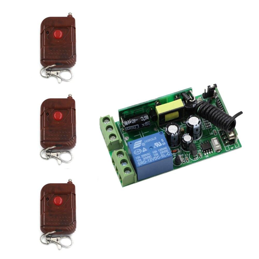 AC 85V 110V 220V 230V 250V RF Wireless Remote Control Lighting Switch ON OFF 1CH 10A Relay Switch Receiver & 3Peach Transmitter new ac 85v 250v 10a rf 1ch rf wireless