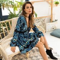 Bohemian Deep V Neck Sexy Mini Dress Women 2018 New Fall Hot Sale High Waist Flare Sleeve Floral Print Girl Fashion A Line Dress