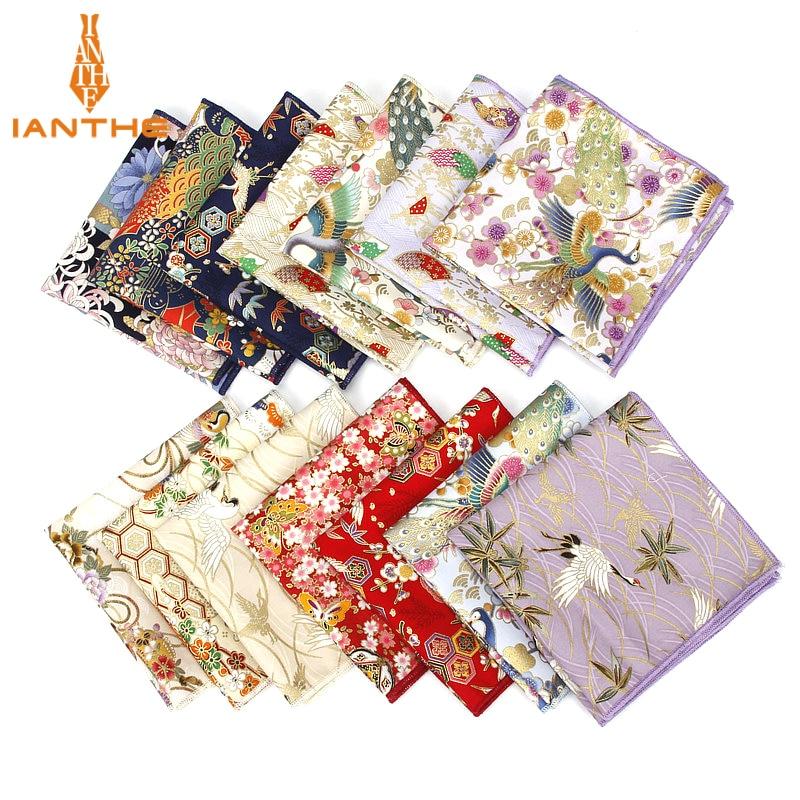 2018 Brand New Men's Suits Pocket Square Handkerchiefs Birds Cotton Flower Printed Hankies Casual Business Classic Pocket Hanky