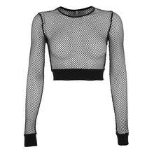 Сетчатый топ в сеточку, женская футболка, однотонная, черная, сексуальная, с длинным рукавом, перспективная, сетчатая, топы, укороченная футболка