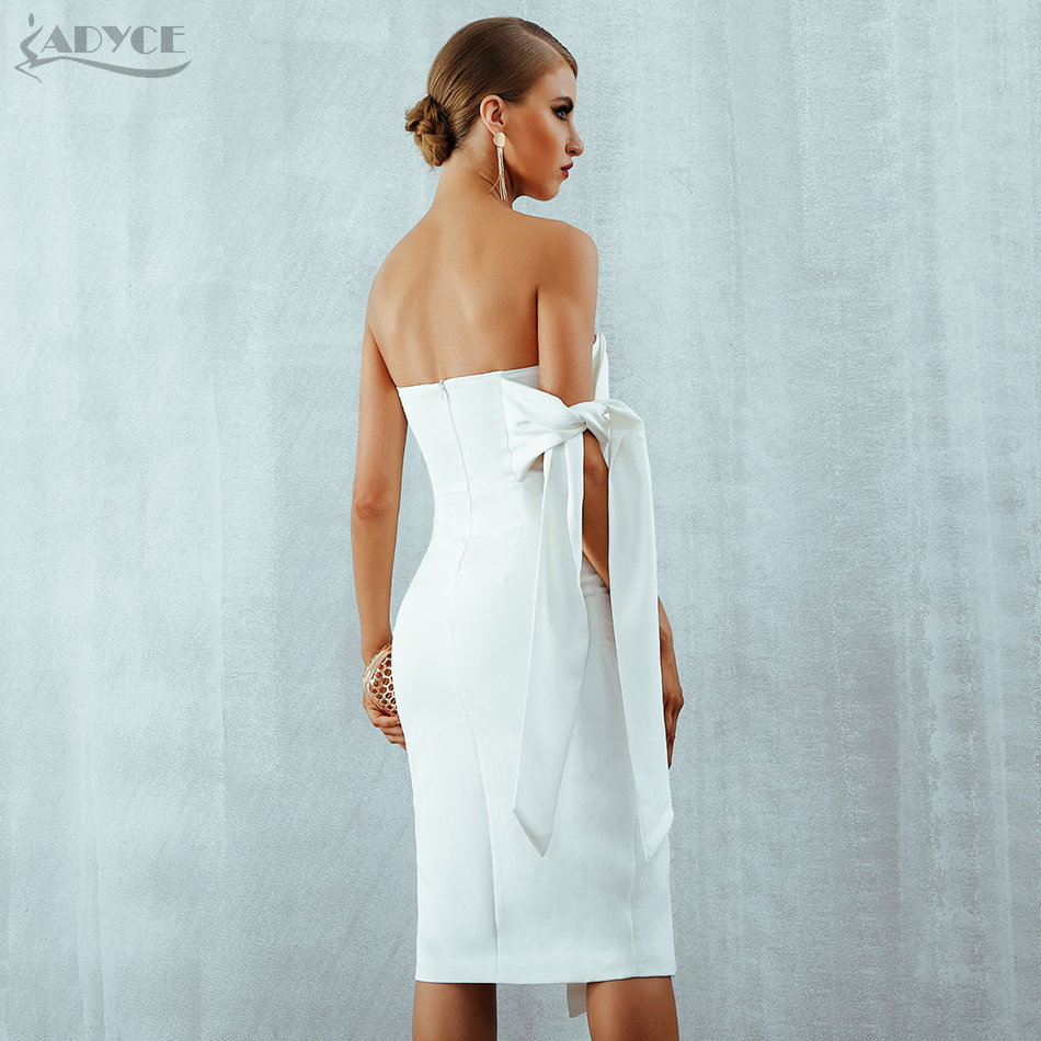 Adyce White Celebrity Party Dress Women 2019 New Summer Arrival Casual One Shoulder Elegant Button Tassels Club Dresses Vestidos in Dresses from Women 39 s Clothing