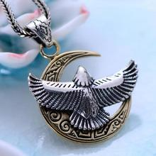 Real 925 Sterling Silver Male Jewelry Half Moon With Eagle Pendant Crescent Pattern Vintage Punk Style Pendentif Argent 925