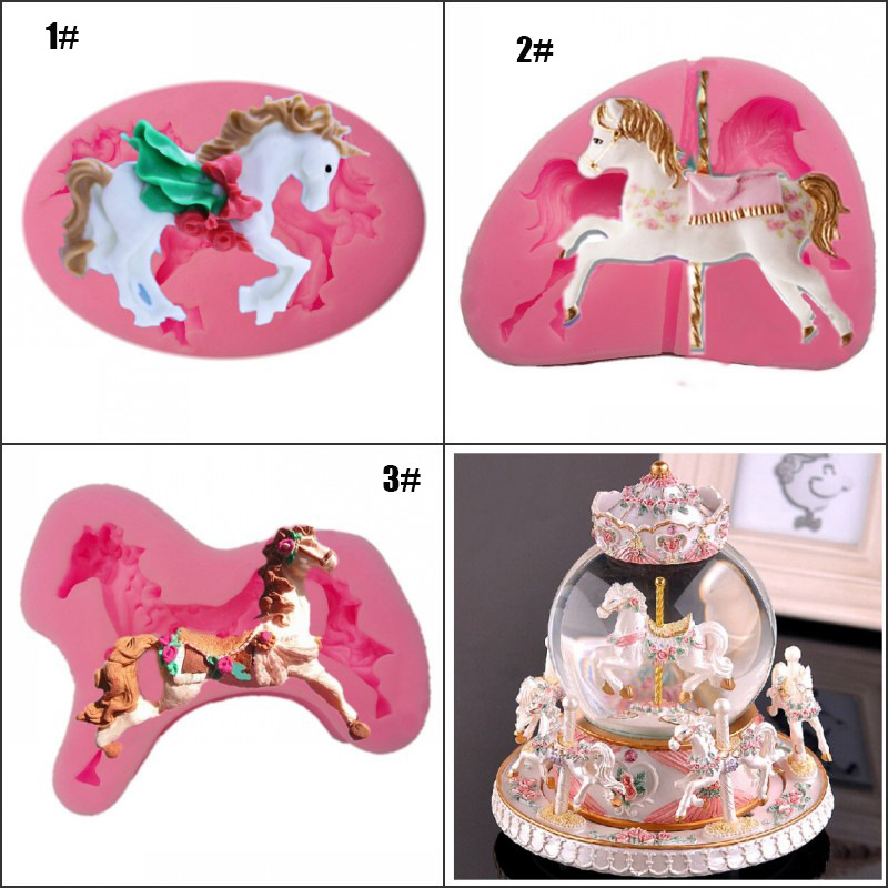 Cute 3D Carousel Horse Shape Silicone Cake Mold DIY Bakeware Silicone Mould For Chocolate Clay Fondant Cake Tools Decorating