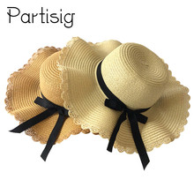 Girls Summer Hat Black Ribbon Wave Straw Hat For Children And Women Panama Sun Caps Mother And Baby Hats Caps chic black ribbon embellished summer straw hat for women