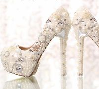 10CM/12CM/14CM crystal pearls luxury wedding party shoes woman ivory pure white pink red color ladies dress party pumps HS204