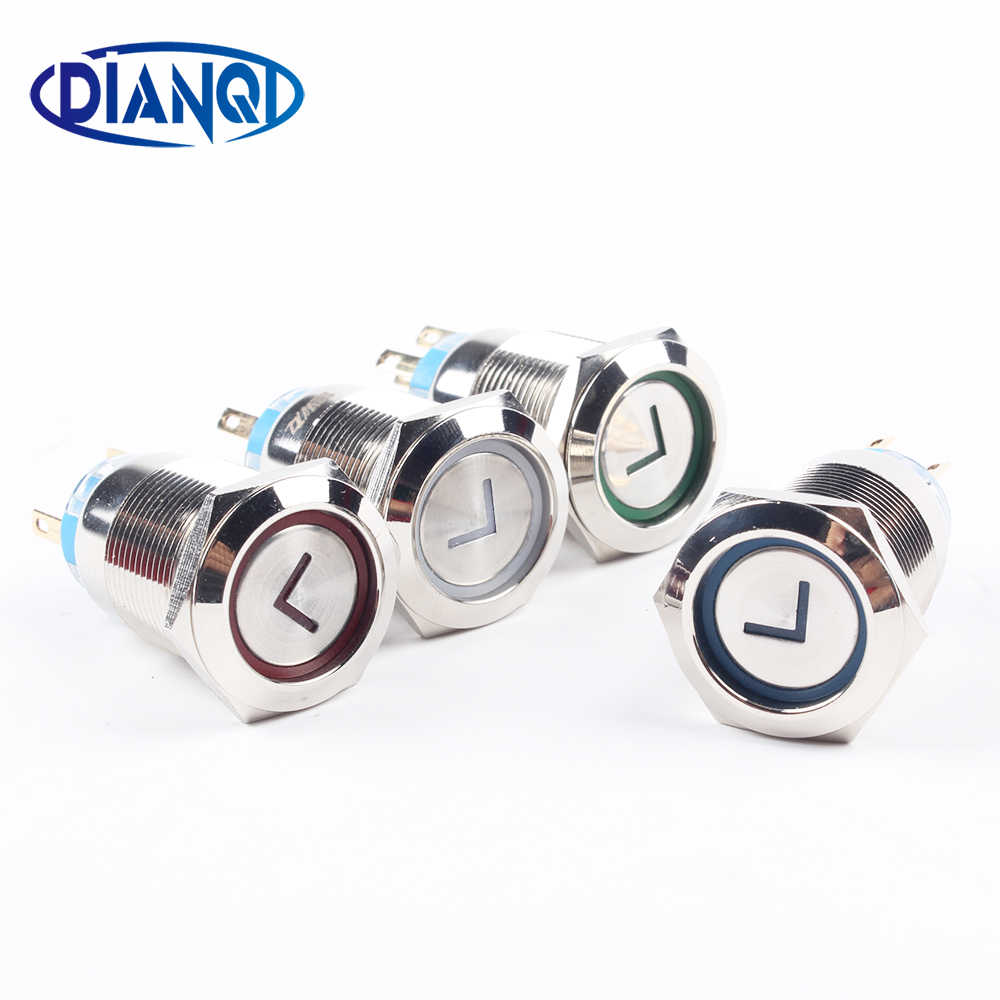 Hot Sale 19 Mm Kualitas Tinggi Logam Power L Jenis Panah Kuningan Push Button Switch Datar Bulat Penerangan Menempel 1NO 1NC 19 Fxhx