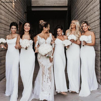 2019 Simple Chiffon Mermaid Bridesmaid Dresses Spaghetti Straps Country Style Boho Wedding Guest Dress Cheap Maid Of Honor Gowns