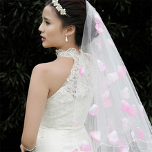 3 Meter White Cathedral Wedding Veils Without Comb Long Ribbon Edge Bridal Veil With Flower Petals Wedding Accessories Bride Veu