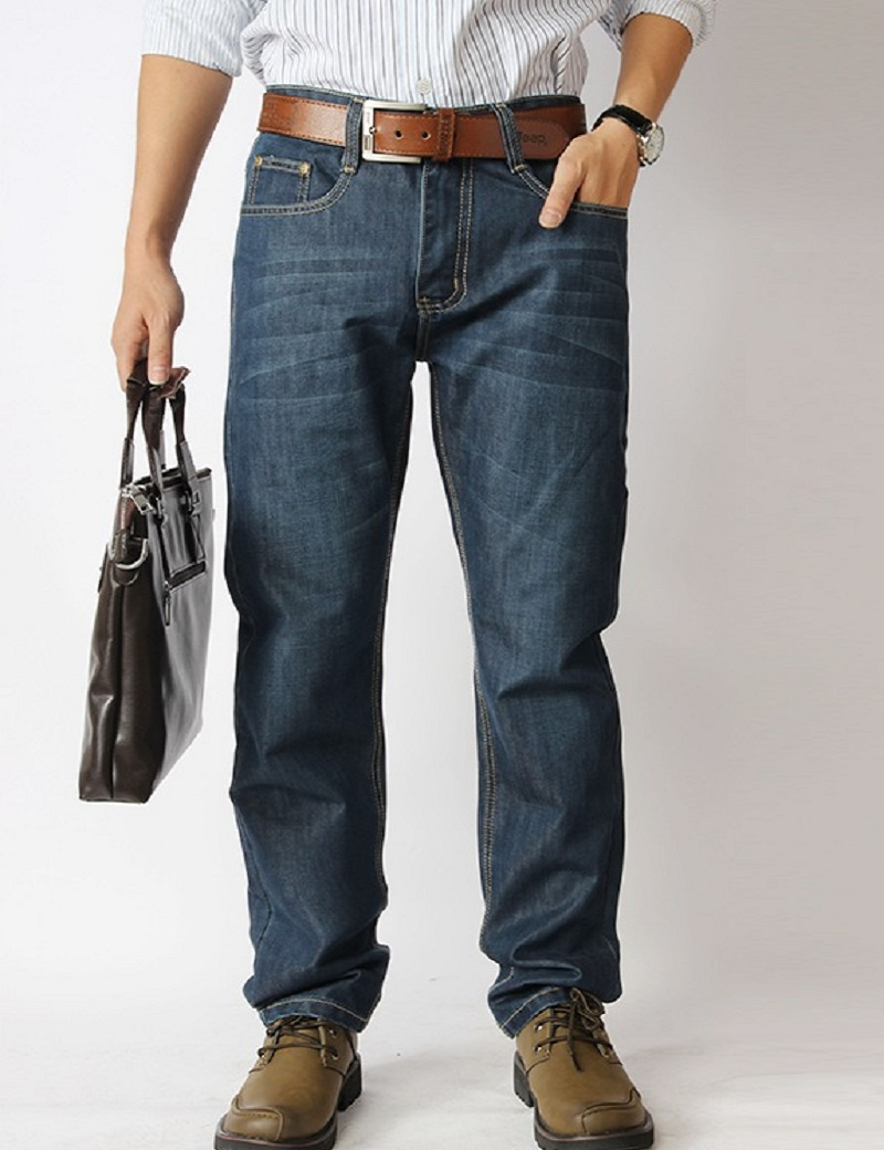 New arrival male fashion simple plus size full length mid waist business casual loose denim straight