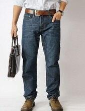 Новое поступление мужской моды простой плюс размер полная длина середине талии бизнес случайный свободные джинсовые прямые джинсы брюки