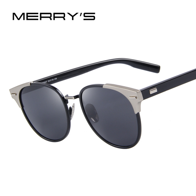 d90ca0a7017ef MERRY S Mulheres Rebite Retro Polarizada Óculos De Sol Dos Homens Clássico  Marca Designer óculos de Sol