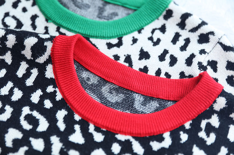 Autumn winter women sweaters leopard knitted pullovers long sleeve Contrast Color crewneck jumpers sweter mujer C-429 11