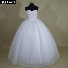 QQ Lover Sexy Pearls Robe De Mariage Ball Gown Wedding Dress Bridal Gown Vestido De Noiva