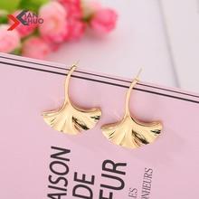 Bohemian Gold Ginkgo Biloba Leaf Drop Earrings Statement Metal Plant Dangle Earrings For Women Party Wedding Jewelry