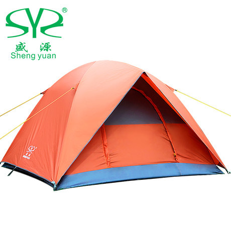 Buy one get six bunk camping tent outdoor people Special rain Shengyuan 3-4 double tent camping