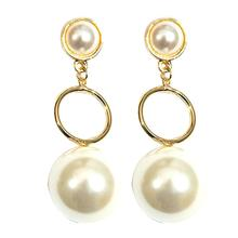 цена на Party Fashion Women Earrings Circle Big Faux Pearl Long Dangle Women Stud Earrings Jewelry