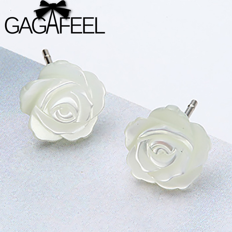 029101ec804b GAGAFEEL romántico 925 plata esterlina pendientes Camelia flor blanca  esmalte Shell pendientes para las mujeres regalo de joyería