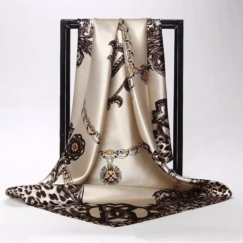 2019 Silk Scarves Women Foulard Square Head Hijab scarf Ladies Luxury Brand Shawl 90cm Bandanna Large wrap muffler free shipping(China)