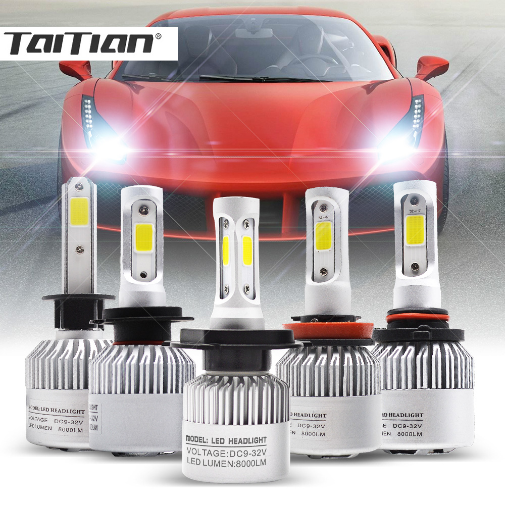 Taitian 2Pcs 72W 8000LM COB 6500K 12V super white H7 turbo led H4 auto h1 bulb H3 fog headlight H11 9005 HB3 9006 HB4 H27 880