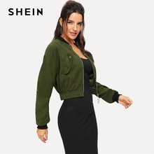 SHEIN Army Green O-Ring Zip Up Flap Pocket Stand Collar Crop Button Jacket Autumn Casual Modern Lady Women Coat Outerwear