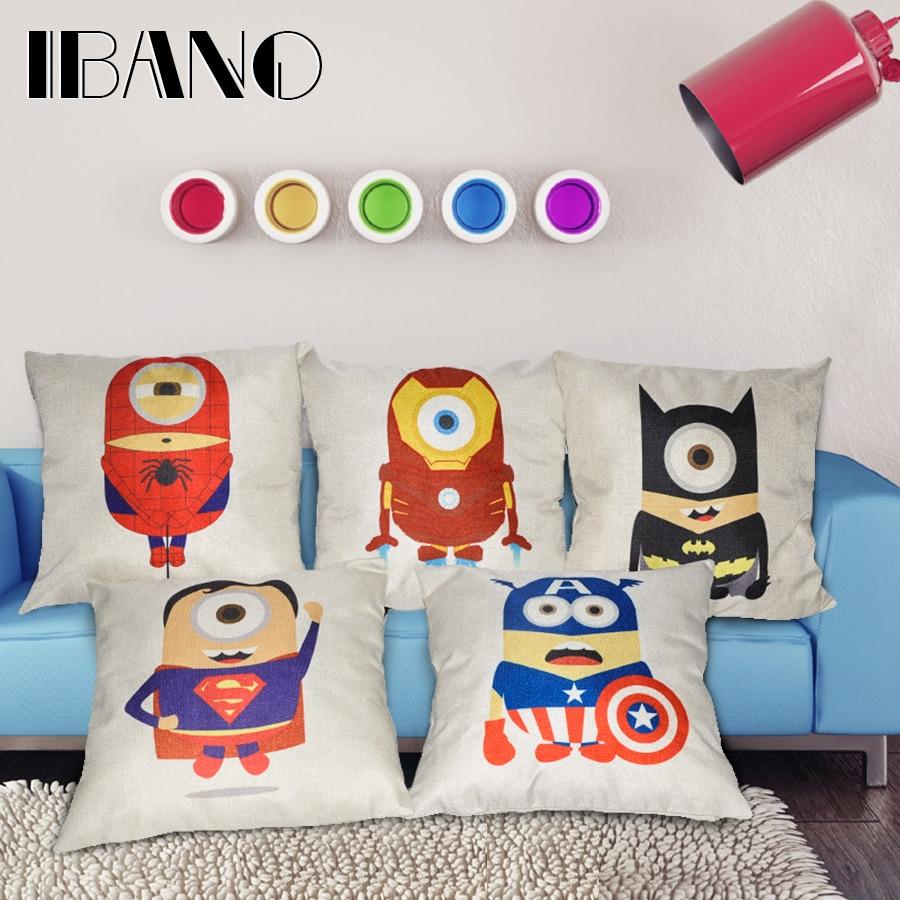 45x45cm/17.7x17.7 Home Decor Linen Decorative Cushion Cover 1PCS/lot Minions Marvel Pillow Cover For Sofa