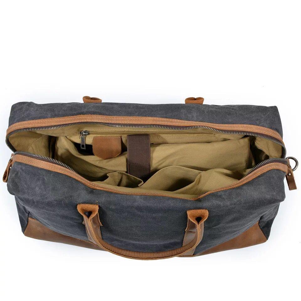 MESOUL Big Travel Duffle Väskor Mäns Stor Kapacitet Läder - Väskor för bagage och resor - Foto 6