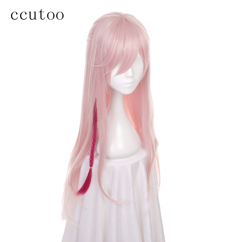 Ccutoo 80 см Розовый и красный цвет микс длинные прямые кос прически синтетический парик для женщин Косплэй костюм Искусственные парики термос...